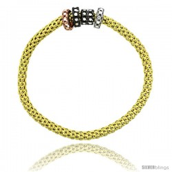 Sterling Silver 7 in. Stretchable Bangle Bracelet in Yellow Gold Finish w/ Tri-Color Circle Bead Charm Accents, 3/16 in. (4.5