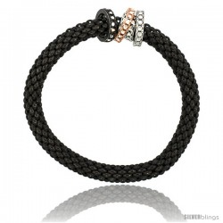 Sterling Silver 7 in Stretchable Bangle Bracelet in Black Ruthenium Finish w/ Tri-Color Circle Bead Charm Accents, 9/32 in