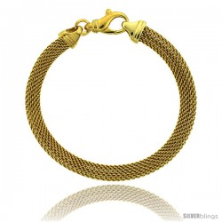 Sterling Silver 7 in. Mesh Bracelet w/ Yellow Gold Finish, 1/4 in. (6.5 mm) wide