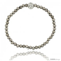 Sterling Silver 7 in. Stretchable Bead Bracelet w/ Swarovski Crystal Disco Ball, in Rhodium Finish, 5/32 in. (4 mm) wide