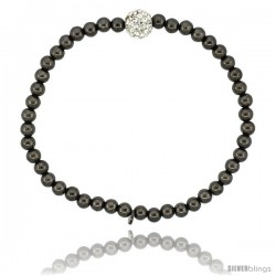 Sterling Silver 7 in. Stretchable Bead Bracelet w/ Swarovski Crystal Disco Ball, in Black Ruthenium Finish, 5/32 in. (4 mm) wide