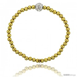 Sterling Silver 7 in. Stretchable Bead Bracelet w/ Swarovski Crystal Disco Ball, in Yellow Gold Finish, 5/32 in. (4 mm) wide
