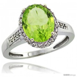 Sterling Silver Diamond Natural Peridot Ring 2.4 ct Oval Stone 10x8 mm, 1/2 in wide