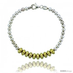Sterling Silver Saucer Bead Bracelet w/ Gold Finish), 1/4 in. (7 mm) wide