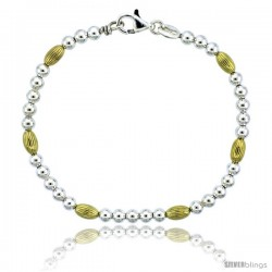 Sterling Silver Corrugated Bead Bracelet w/ Gold Finish), 3/16 in. (4 mm) wide