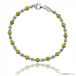 Sterling Silver Saucer Bead Bracelet w/ Gold Finish), 5/32 in. (4 mm) wide