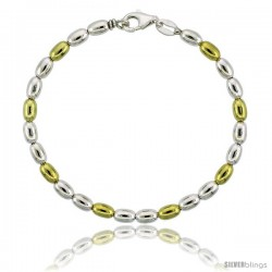 Sterling Silver Egg-shaped Oval Bead Bracelet w/ Gold Finish), 5/32 in. (4 mm) wide