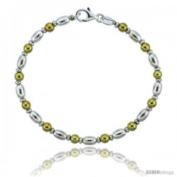 Sterling Silver Egg-shaped Oval Bead Bracelet w/ Gold Finish), 5/32 in. (4 mm) wide -Style Bg19