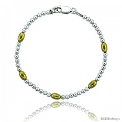 Sterling Silver Polished Bead Bracelet w/ Gold Finish), 5/32 in. (4 mm) wide