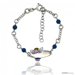 Sterling Silver Rolo Link Baby ID Bracelet in White Gold Finish w/ Blue Turquoise Color Beads & Angel Charm (5-6 in)