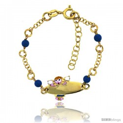 Sterling Silver Rolo Link Baby ID Bracelet in Yellow Gold Finish w/ Blue Turquoise Color Beads & Angel Charm (5-6 in)