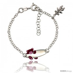 Sterling Silver Rolo Link Baby ID Bracelet in White Gold Finish w/ Pink Teddy Bear & Girl Charm (5-6 in)