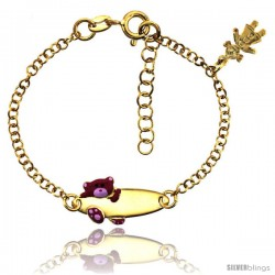 Sterling Silver Rolo Link Baby ID Bracelet in Yellow Gold Finish w/ Pink Teddy Bear & Girl Charm (5-6 in)