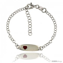 Sterling Silver Rolo Link Baby ID Bracelet in White Gold Finish w/ Red Heart Accent (5-6 in)