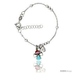 Sterling Silver Beaded Cable Link Baby Bracelet in White Gold Finish w/ Heart & Angel Charms (5-6 in)