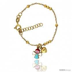 Sterling Silver Beaded Cable Link Baby Bracelet in Yellow Gold Finish w/ Heart & Angel Charms (5-6 in)