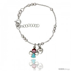 Sterling Silver Beaded Cable Link Baby Bracelet in White Gold Finish w/ Heart & Angel Charms (5-6 in) -Style Bid312h