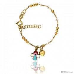 Sterling Silver Beaded Cable Link Baby Bracelet in Yellow Gold Finish w/ Heart & Angel Charms (5-6 in) -Style Bid312y
