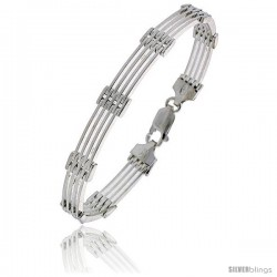 "Sterling Silver Italian Binario ( BAR ) Bracelet 7"", 8"" and 9 in"