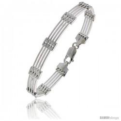 "Sterling Silver Italian Binario ( BAR ) Bracelet 7"", 8"" and 9 in"