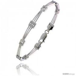 """Sterling Silver Italian Binario ( BAR ) Bracelet 7"""" and 8"""" -Style Bin11"""