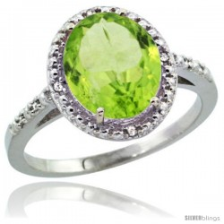 Sterling Silver Diamond Natural Peridot Ring 2.4 ct Oval Stone 10x8 mm, 1/2 in wide -Style Cwg11111