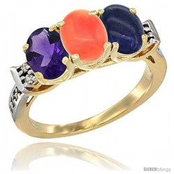10K Yellow Gold Natural Amethyst, Coral & Lapis Ring 3-Stone Oval 7x5 mm Diamond Accent