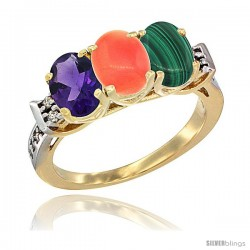 10K Yellow Gold Natural Amethyst, Coral & Malachite Ring 3-Stone Oval 7x5 mm Diamond Accent