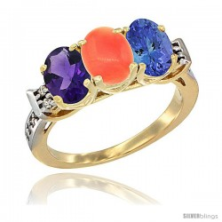10K Yellow Gold Natural Amethyst, Coral & Tanzanite Ring 3-Stone Oval 7x5 mm Diamond Accent
