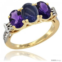 10K Yellow Gold Natural Lapis & Amethyst Sides Ring 3-Stone Oval 7x5 mm Diamond Accent