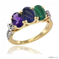 10K Yellow Gold Natural Amethyst, Lapis & Malachite Ring 3-Stone Oval 7x5 mm Diamond Accent