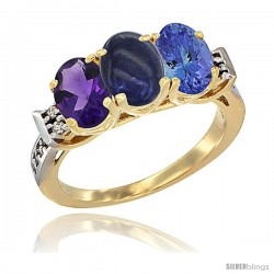10K Yellow Gold Natural Amethyst, Lapis & Tanzanite Ring 3-Stone Oval 7x5 mm Diamond Accent