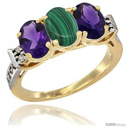 10K Yellow Gold Natural Malachite & Amethyst Sides Ring 3-Stone Oval 7x5 mm Diamond Accent