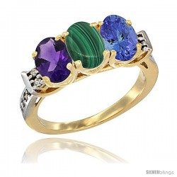 10K Yellow Gold Natural Amethyst, Malachite & Tanzanite Ring 3-Stone Oval 7x5 mm Diamond Accent