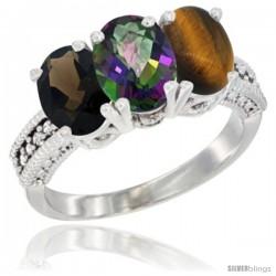 10K White Gold Natural Smoky Topaz, Mystic Topaz & Tiger Eye Ring 3-Stone Oval 7x5 mm Diamond Accent