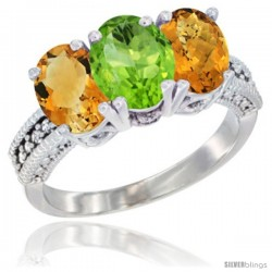 14K White Gold Natural Citrine, Peridot & Whisky Quartz Ring 3-Stone 7x5 mm Oval Diamond Accent