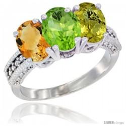 14K White Gold Natural Citrine, Peridot & Lemon Quartz Ring 3-Stone 7x5 mm Oval Diamond Accent