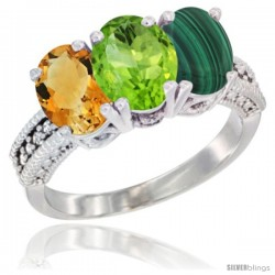 14K White Gold Natural Citrine, Peridot & Malachite Ring 3-Stone 7x5 mm Oval Diamond Accent
