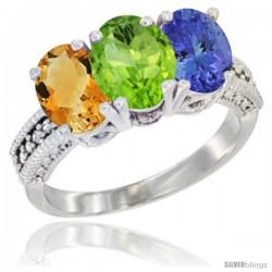 14K White Gold Natural Citrine, Peridot & Tanzanite Ring 3-Stone 7x5 mm Oval Diamond Accent