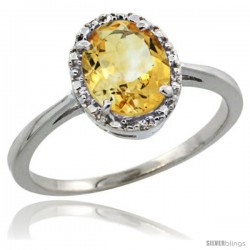 14k White Gold Diamond Halo Citrine Ring 1.2 ct Oval Stone 8x6 mm, 1/2 in wide