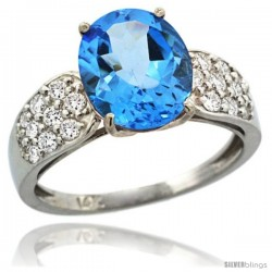 14k White Gold Natural Swiss Blue Topaz Ring 10x8 mm Oval Shape Diamond Accent, 3/8inch wide -Style R289771w04