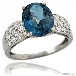 14k White Gold Natural London Blue Topaz Ring 10x8 mm Oval Shape Diamond Accent, 3/8inch wide -Style R289771w05