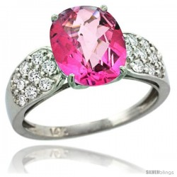 14k White Gold Natural Pink Topaz Ring 10x8 mm Oval Shape Diamond Accent, 3/8inch wide -Style R289771w06