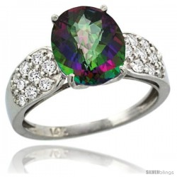 14k White Gold Natural Mystic Topaz Ring 10x8 mm Oval Shape Diamond Accent, 3/8inch wide -Style R289771w08
