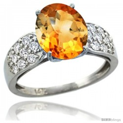 14k White Gold Natural Citrine Ring 10x8 mm Oval Shape Diamond Accent, 3/8inch wide -Style R289771w09