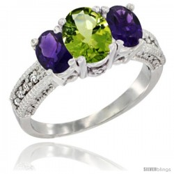 14k White Gold Ladies Oval Natural Peridot 3-Stone Ring with Amethyst Sides Diamond Accent