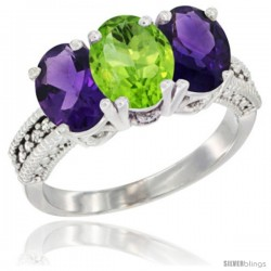 14K White Gold Natural Peridot & Amethyst Ring 3-Stone 7x5 mm Oval Diamond Accent