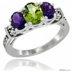 14K White Gold Natural Peridot & Amethyst Ring 3-Stone Oval with Diamond Accent