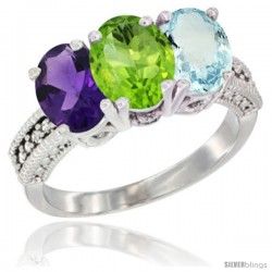 14K White Gold Natural Amethyst, Peridot & Aquamarine Ring 3-Stone 7x5 mm Oval Diamond Accent