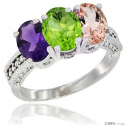 14K White Gold Natural Amethyst, Peridot & Morganite Ring 3-Stone 7x5 mm Oval Diamond Accent